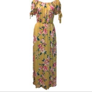 Band of Gypsies Yellow Off the Shoulder Maxi Dress